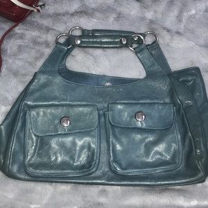 Kooba Muted Blue Leather Satchel